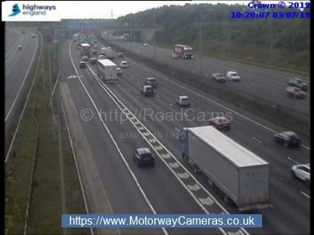 The fire has caused congestion on the M1