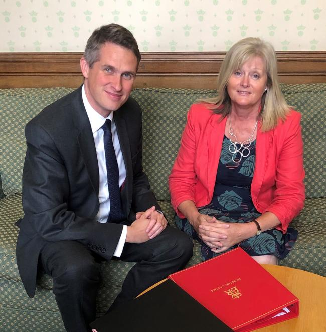 Secretary of State for Education, Gavin Williamson with St Albans MP, Anne Main photo: Office of Anne Main MP