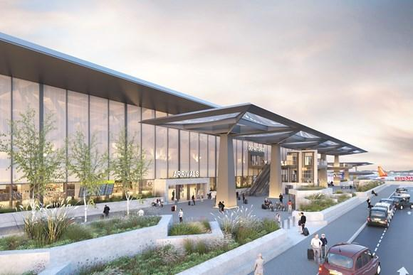 A render of what one of the terminals at Luton Airport will look like photo: LLAL