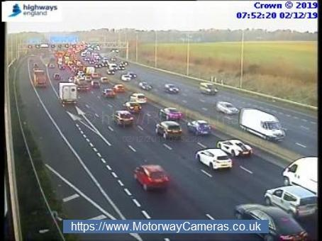 Slow traffic on M25 at Rickmansworth. Credit: Highways England