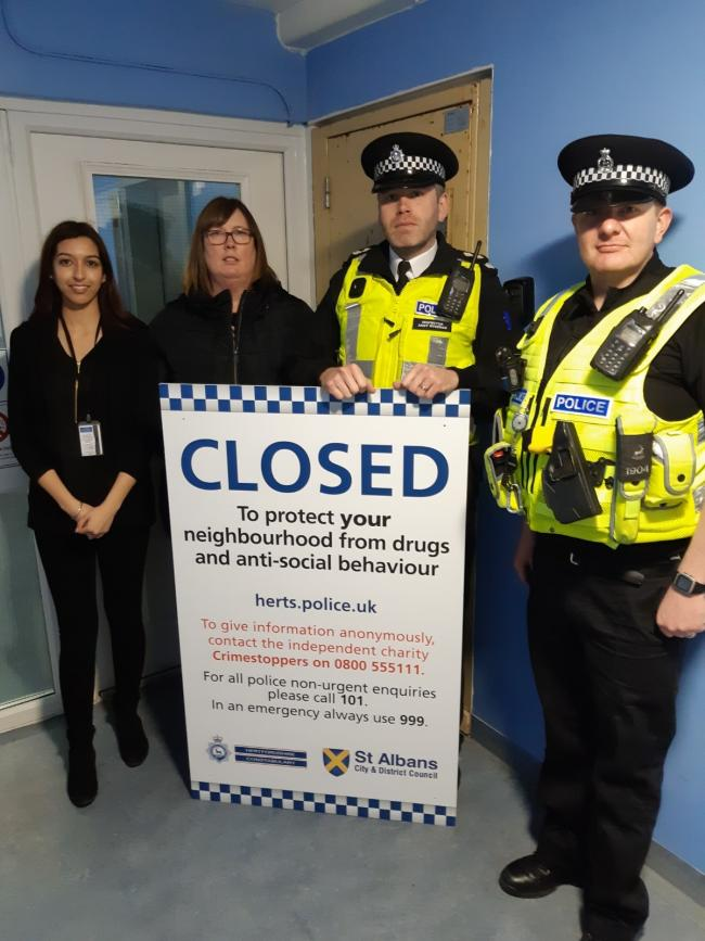 Simran Chana from the police Community Safety Unit, Kellie Kelley from the council's Community Safety Unit, Insp Andy Wiseman and PC John Cooper. Picture: Herts Police.