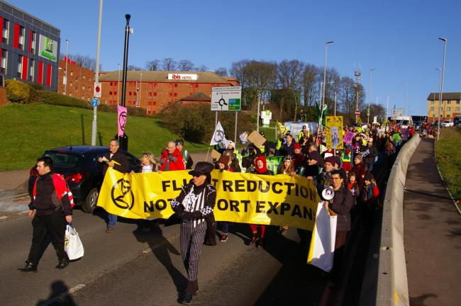 Extinction Rebellion protest against the proposed plans for Luton Airpot expansion.