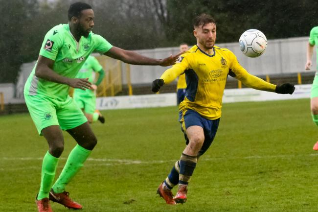 Joe Iaciofano in action against Oxford City. Picture: Leigh Page