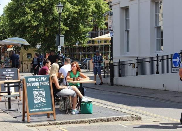 Pavement dining in St Albans City Centre. Credit: St Albans District Council
