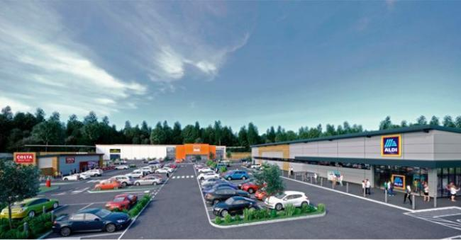 CGI of the retail park in Griffiths Way which includes Aldi, B&Q and Costa Coffee