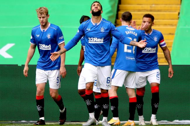 Rangers defender Connor Goldson (centre) celebrates scoring the first of his two goals in the 2-0 derby win over Celtic.