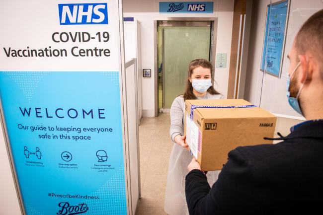 An NHS Covid-19 vaccination centre at Boots in Halifax