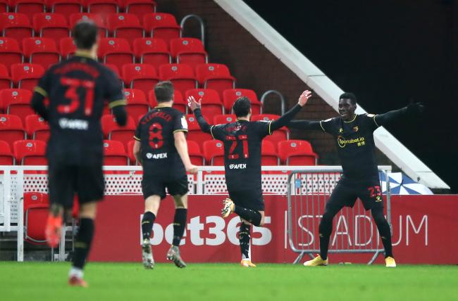 Ismaila Sarr celebrates Watford's second as they beat Stoke City. Picture: PA