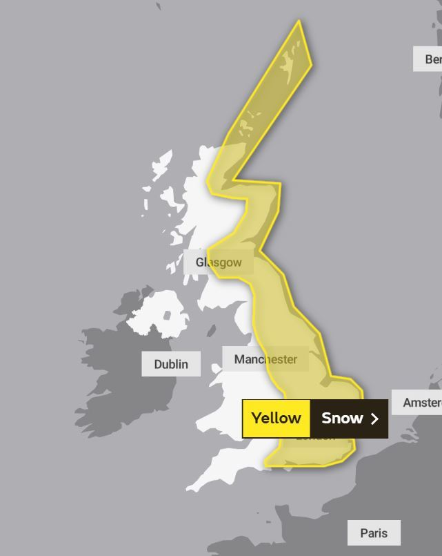 A yellow weather warning has been issued across England and Scotland. Photo: Met Office