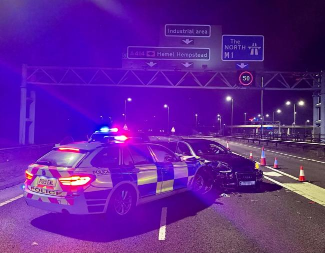 The scene on the A414/M1 slip road at Hemel Hempstead overnight. Credit: BCH Road Policing Unit