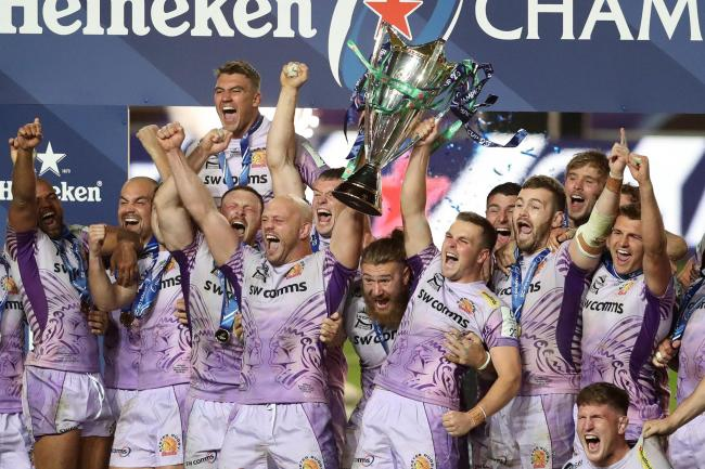Exeter players celebrate winning the Heineken Champions Cup