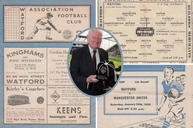 Scans of the Preston and Manchester United programmes and the late Sir Tom Finney. Inset picture: Action Images