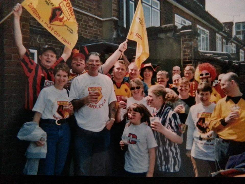 Colin pictured at a party celebrating Watford FC success. He is pictured with his best friend called Ronnie, who passed away 17 years ago.