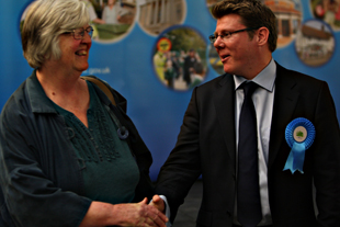 Tory Dean Russell with Lib Dem Alison Steer from whom he seized the seat for Harpenden East.
