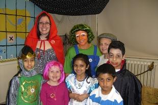 Staff and children at London Colney Primary School dressed as book characters for Comic Relief.