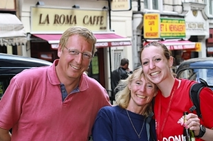 Tributes have been paid to Lorna Lambden, right, following her sudden death - pictured with her dad Roy and mum Sandra.
