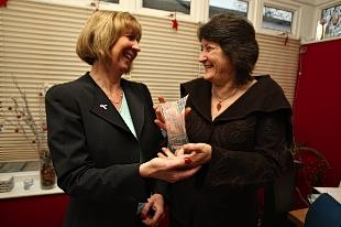 Jane Cutler receives award from Review and Debenhams Ottaway