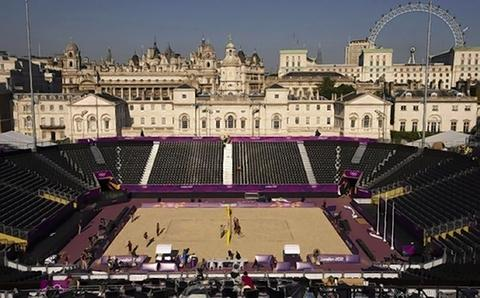 The volleyball court at Horseguards Parade,