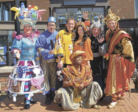 The cast of Aladdin outside The Alban Arena