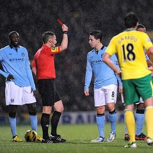 Samir Nasri saw red in Manchester City's victory over Norwich