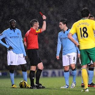 Manchester City will not appeal Samir Nasri's, right, sending off