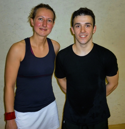 Adam Auckland won the exhibition match against Alison Waters
