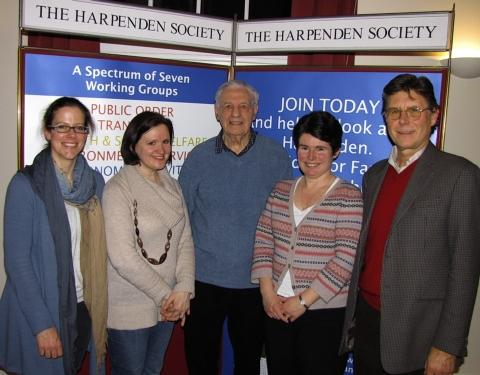 Organisers of the Harpenden Society's meeting (left-right) Vicky Evans, Rachel Tuckley, Eric Midwinter, Caroline Fleming and Ron Taylor