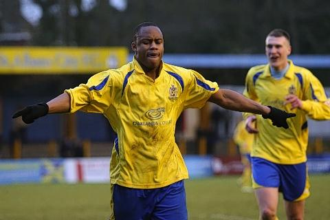 Greg Ngoyi celebrates his goal against Redditch United: Leigh Page