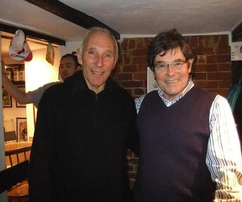 Phil Liggett (left) with coffee shop manager Simon Barnes