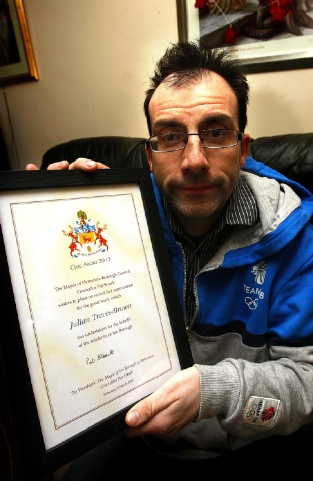 Julian Treves Brown was honoured at Hertsmere's Civic Awards on Saturday night.