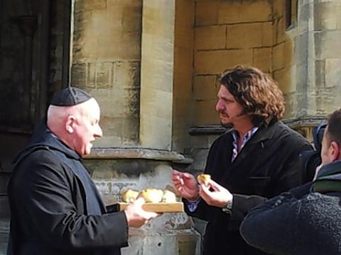 BBC food critic Jay Rayner was spotted filming in the grounds of St Albans Cathedral