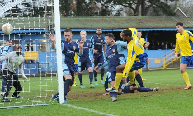 St Albans & Harpenden Review: Mark Nwokeji scores the City equaliser. Picture: Robert Walkley