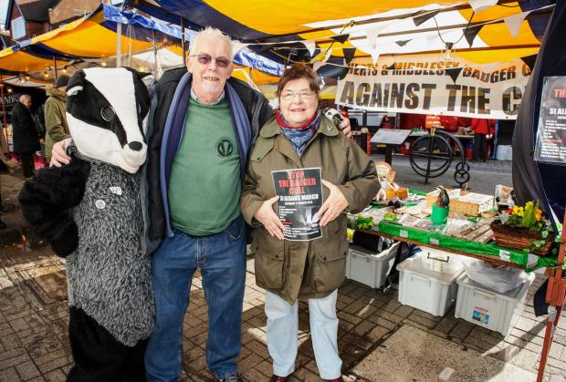 St Albans & Harpenden Review: Christine Wood, Geoff Russell and Jo Russell on the Herts and Middx Badger Group stall in St Albans Market.