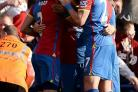 Crystal Palace players celebrate their goal