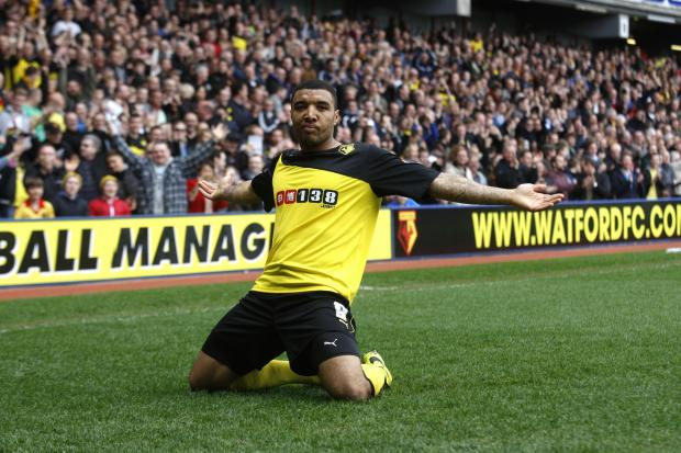 Troy Deeney at the Watford FC ground in Vicarage Road