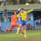 St Albans & Harpenden Review: John Frendo is denied by Nick Hutchings in his 50th game for the City. Picture: Robert Walkley
