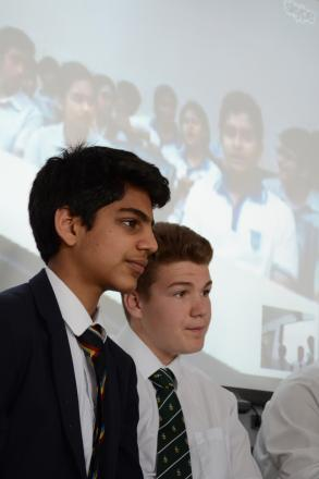 Pupils discuss collection of short stories with pupils from India