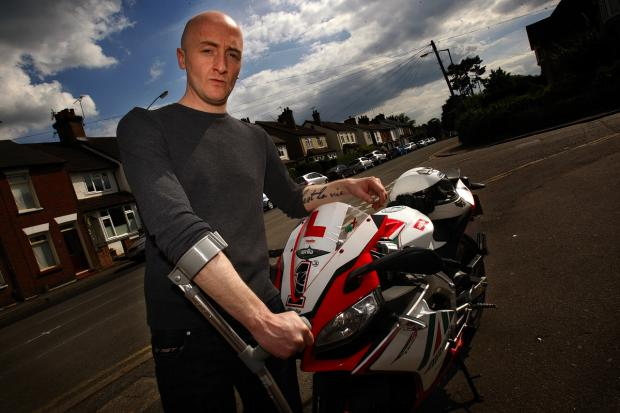 Biker thrown from motorcycle in near-miss crash begs motorists to check wing mirrors