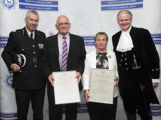 Left to right: Assistant Chief Constable Jon Boutcher, Alan Jones, Christine Flavin and the High Sherriff