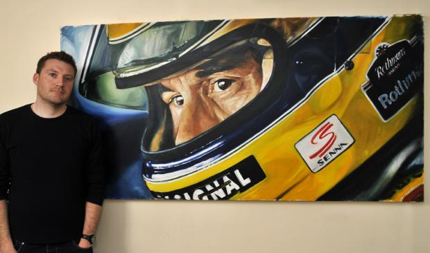 Artist exhibits portrait of late motor racing star