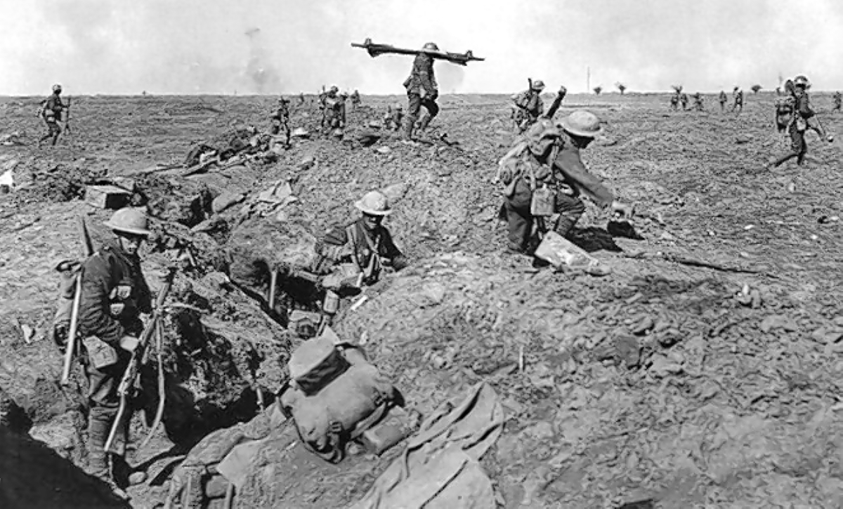 British soldiers fighting during the bloody battle of the Somme.