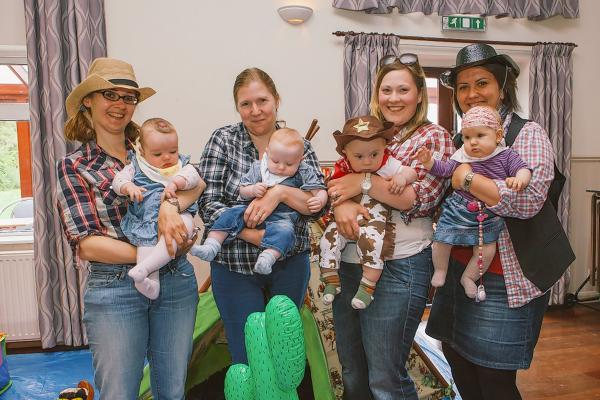 L to R: Helen Wilmot and baby Emily;  Toni Kitchingman and Oliver; Sam Bonfield and Max; Adel Rozsa and Emma.