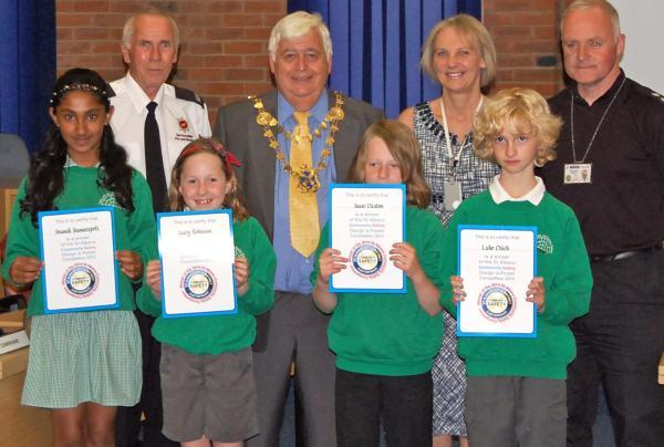 Children draw road safety designs in poster competition