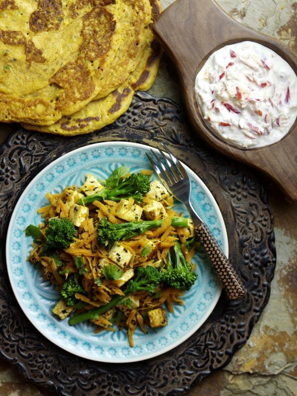 Tenderstem, paneer and carrot sambhal served with poodla and Pink Lady® raita