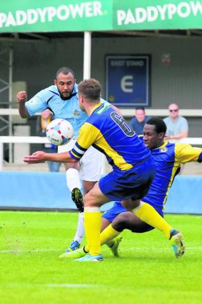 James Comley attacks during the Saints' win at Farnborough: Leigh Page