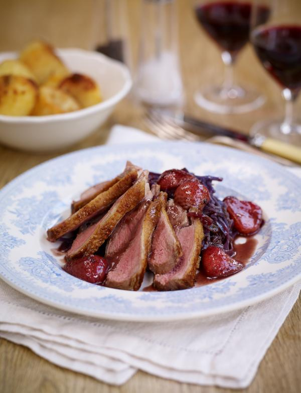 Pan roasted duck with a Sweet Eve strawberry red wine sauce