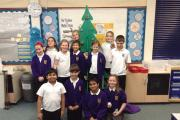 Pupils at Oak View Primary & Nursery School proud of their eco-friendly Christmas tree.