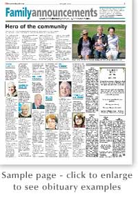 St Albans & Harpenden Review: Obituary Sample Page