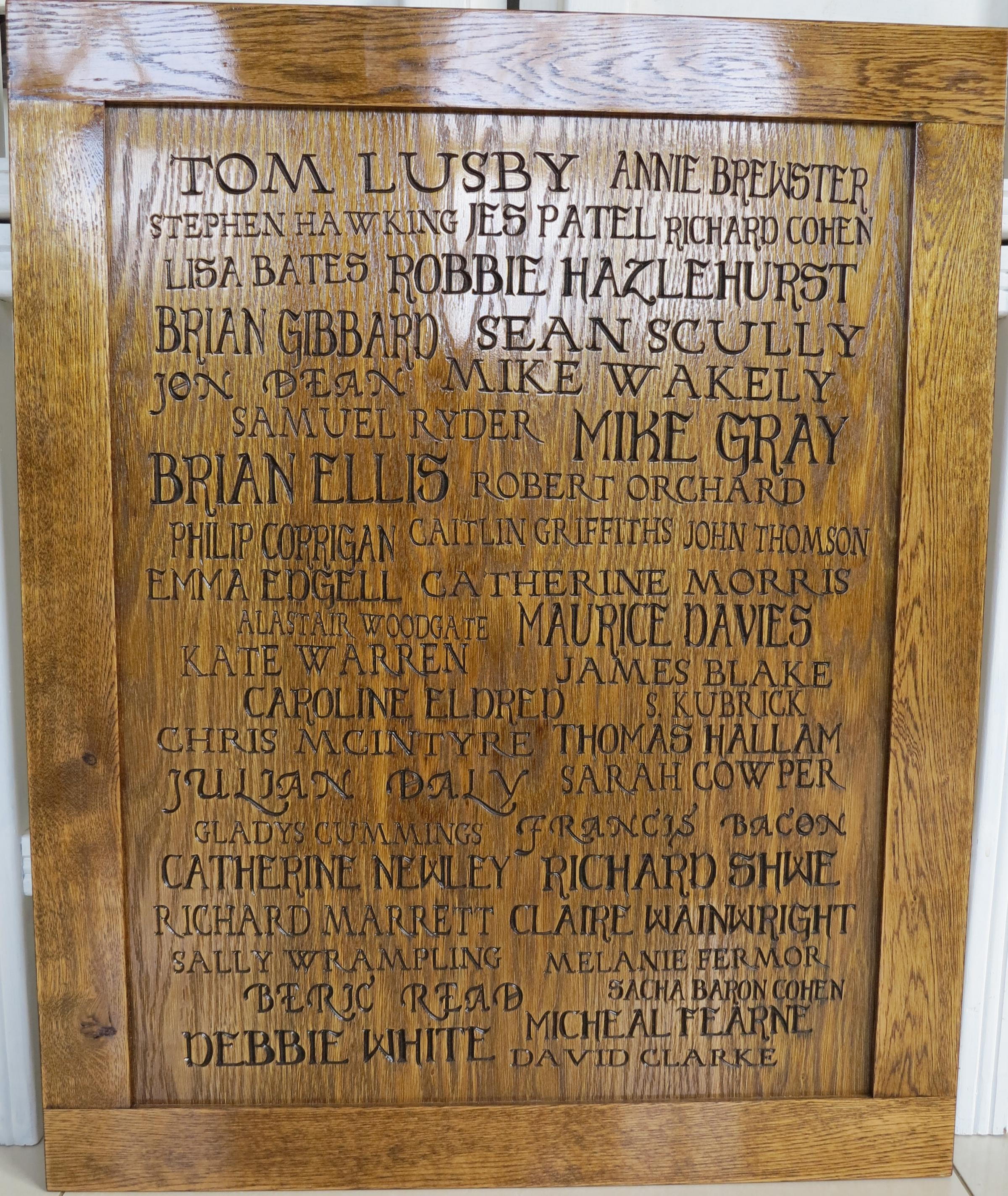 What the oak panel honours boards will look like
