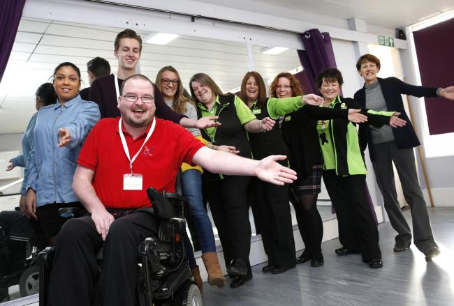 Lemarie Centre for Charities opens new dance studio - staff from WDSA UK and ASDA with councillor Karren Hastrick and CEO Patrick McGeough
